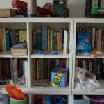 Even the playroom has books for grandkids